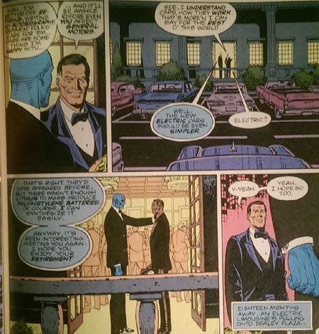 I'm Hollis Mason, and Dr. Manhattan is Steve Jobs. Later, I am murdered by assholes with man-buns. (From Watchmen by Alan Moore and Dave Gibbons.)