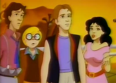 "(l-r) Ash, Whiz, Kidd, Carla. Yes, the nerd with yellow hair is called ""Whiz""."