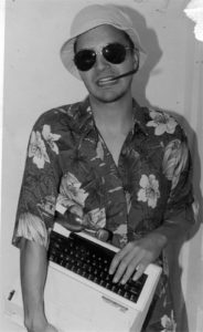 Me circa 1998, as HST. The pen holder in my mouth is the one I still use, as seen in the interview photo.