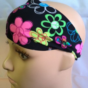 Peace Flowers Wide Headband