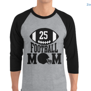 Football Mom 3/4 sleeve raglan shirt