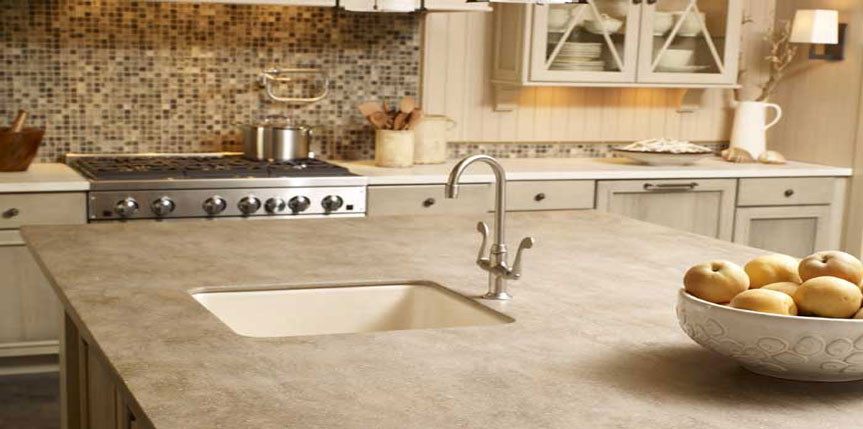 granite top kitchen island delta savile stainless 1 handle pull down faucet corian countertops | b&t kitchens & baths