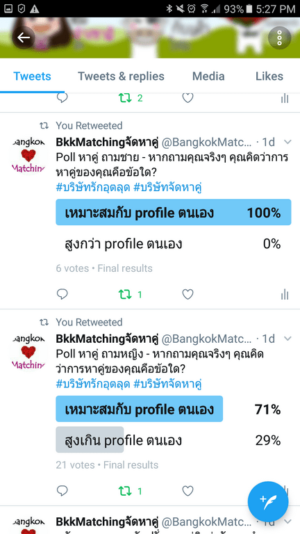 Dating Poll of Bangkok Matching, Dating and Matchmaking Agency asking how the singles choose level of profile of partner comparing to their proflies.