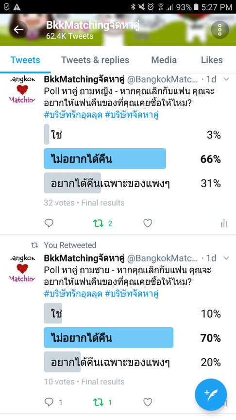 Dating Poll of Bangkok Matching Dating and Matchmaking Agency asking if singles will ask for the gift bought to Ex back