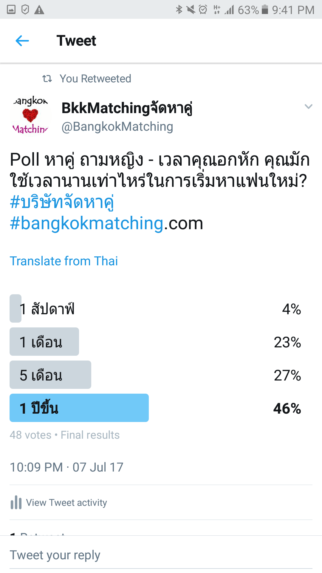 """""""Dating"""" Poll of BangkokMatching Dating and """"Matchmaking"""" Agency asking when you will start looking for a new boyfriend or girlfriend after breaking up"""