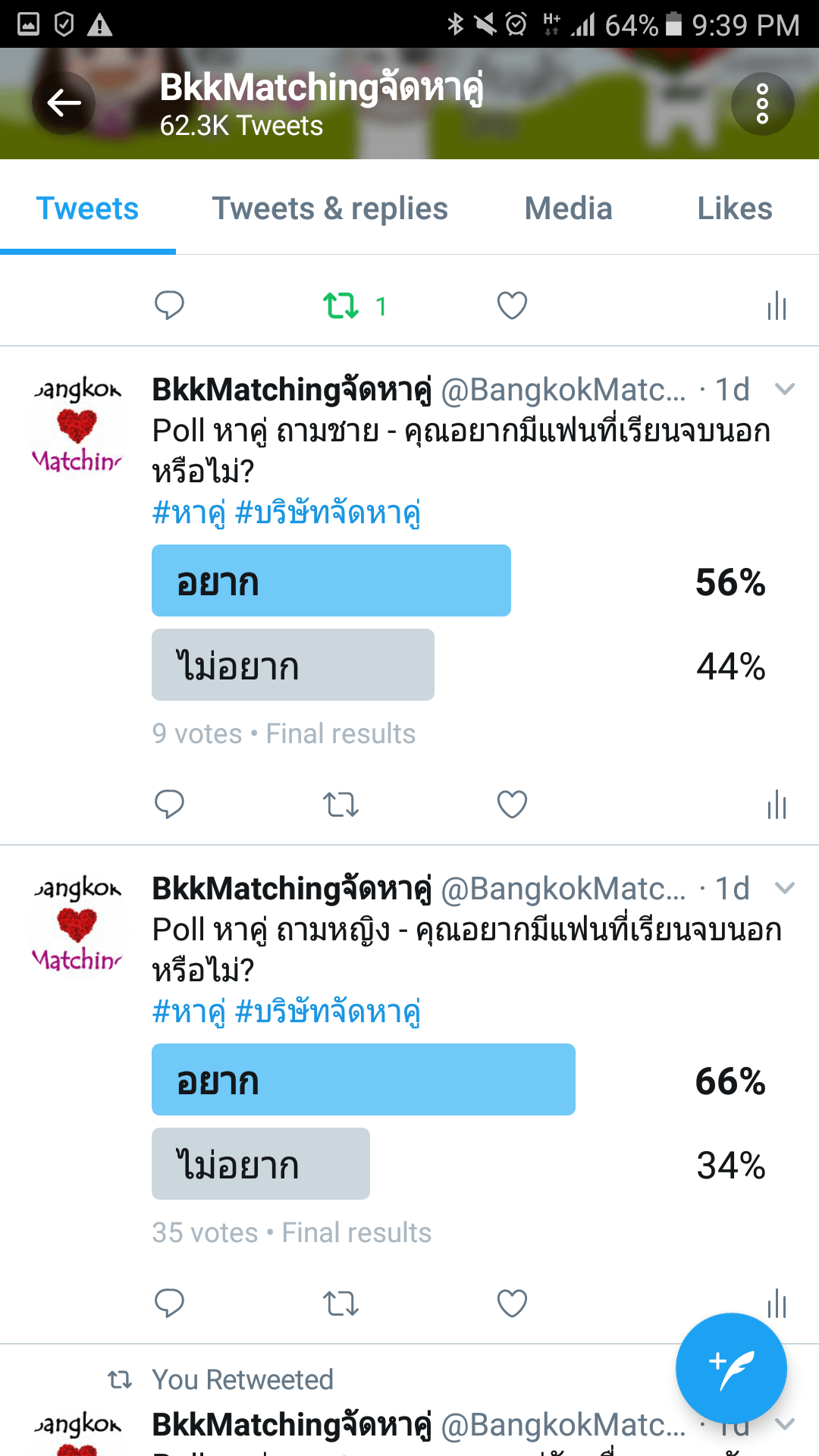 """""""Dating"""" Poll of BangkokMatching Dating and """"Matchmaking"""" Agency asking if you would like to have a boyfriend or girlfriend graduating abroad"""