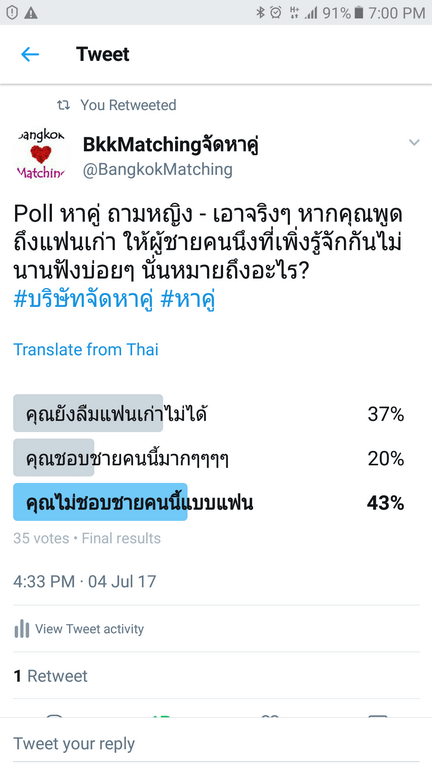 """""""Dating"""" Poll of BangkokMatching Dating and """"Matchmaking"""" Agency asking if you talk about your ex often to someone you just know"""
