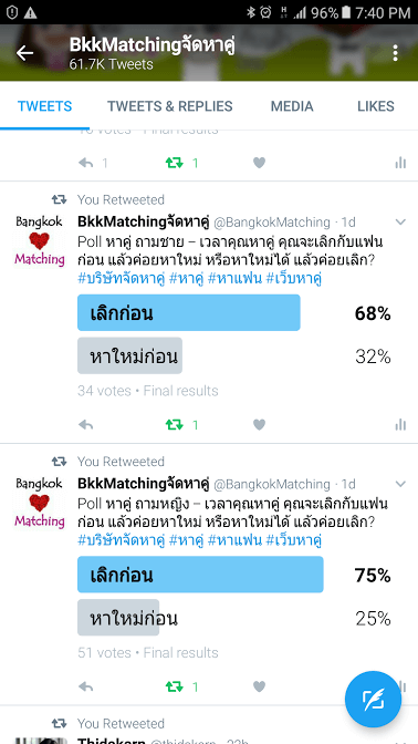 Dating Poll of Dating and Matchmaking Agency asking if you are not happy with your current bf/gf and want to break up.