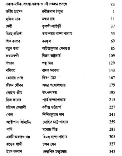 Bangla Ekanka Natok Sankalon contents