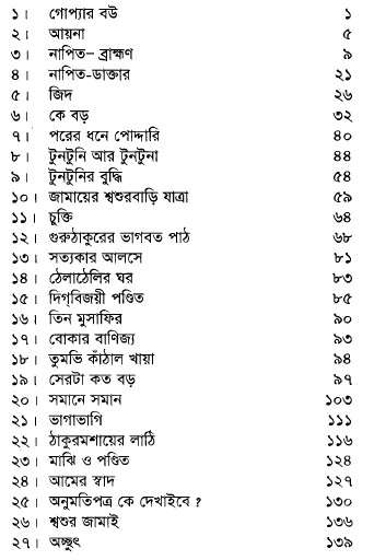 Bangalir Hasir Galpo- 1 contents