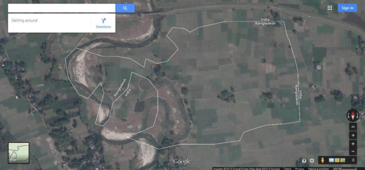 Enclave of Bangladesh-India border seen via Google map