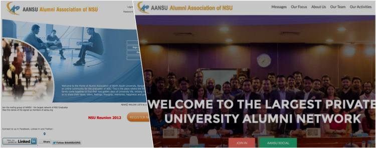 Old and new alumni website of North South University of Bangladesh