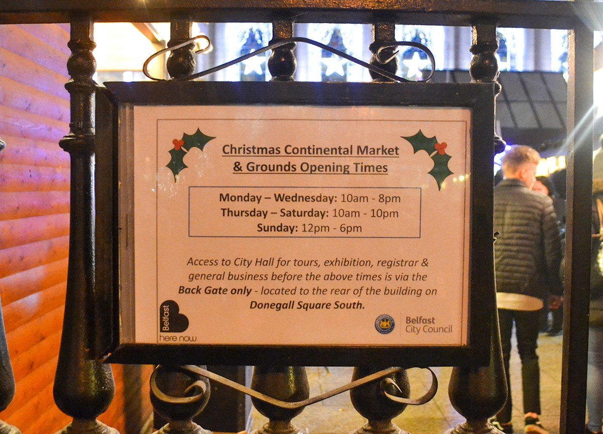 Opening Times of Belfast Christmas Market at City Hall Northern Ireland