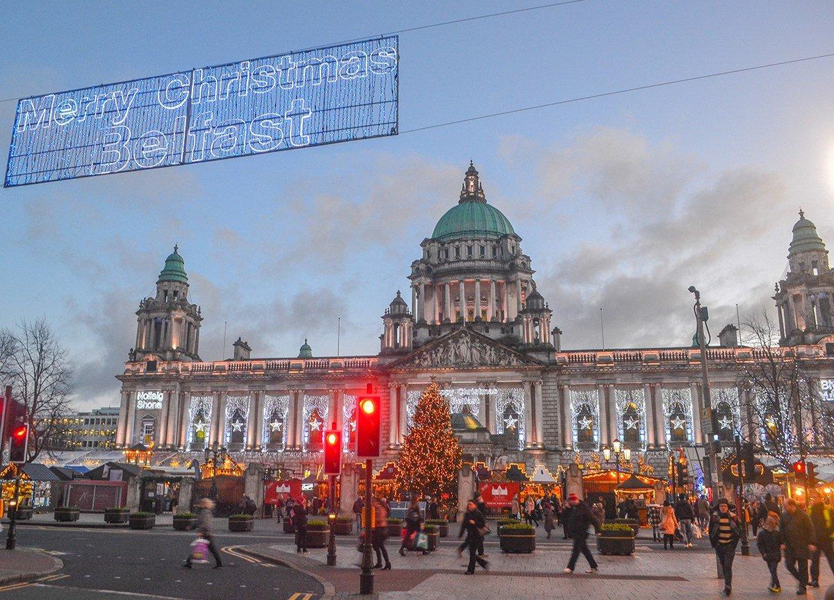 Merry Christmas Belfast Sign, Belfast Christmas Market at City Hall Northern Ireland