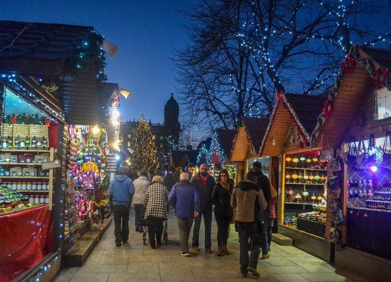 Souvenir Stalls at Belfast Christmas Market at City Hall Northern Ireland