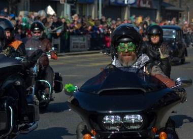 Motorbike Gangs, Saint Patricks Day Parade in Downpatrick Northern Ireland