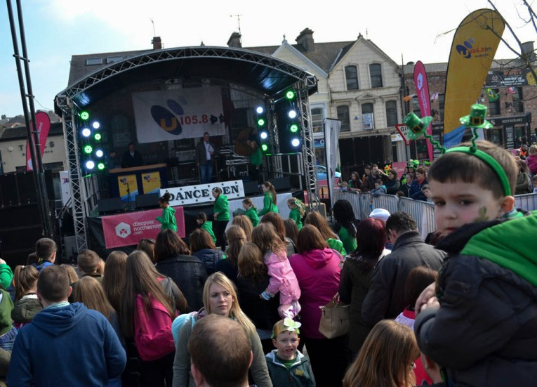 U106 Stage, Saint Patricks Day Parade in Downpatrick Northern Ireland