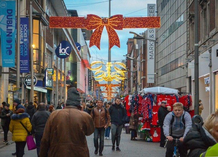 Dublin One Street, Christmas in Dublin City Centre Ireland