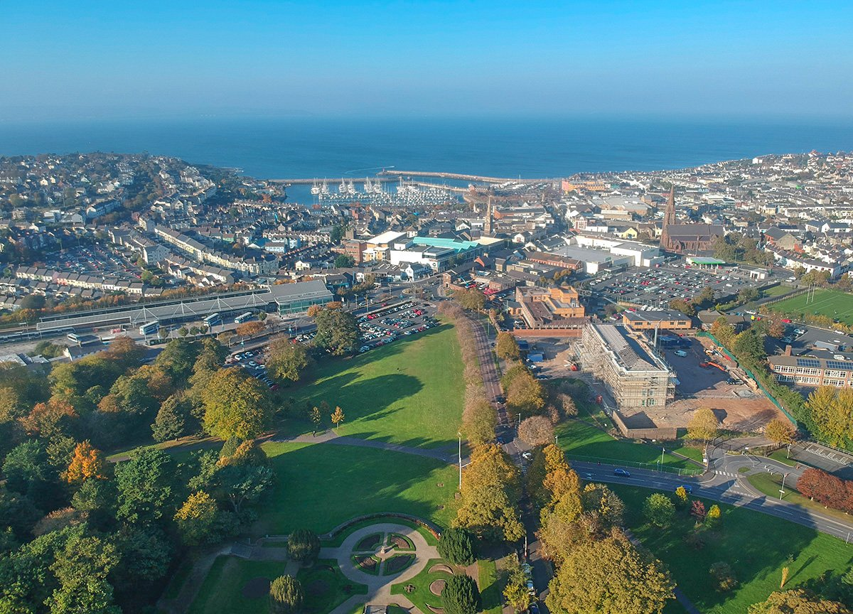 Bangor from Above. Town Hall and Bangor Castle Park in N Ireland