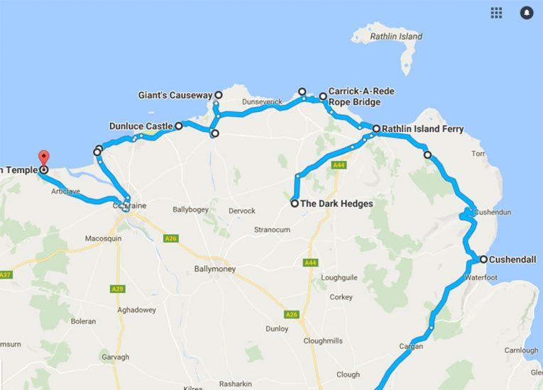 Map Of Ireland Giants Causeway.Causeway Coastal Route Top 10 Causeway Coast Tourist Attractions