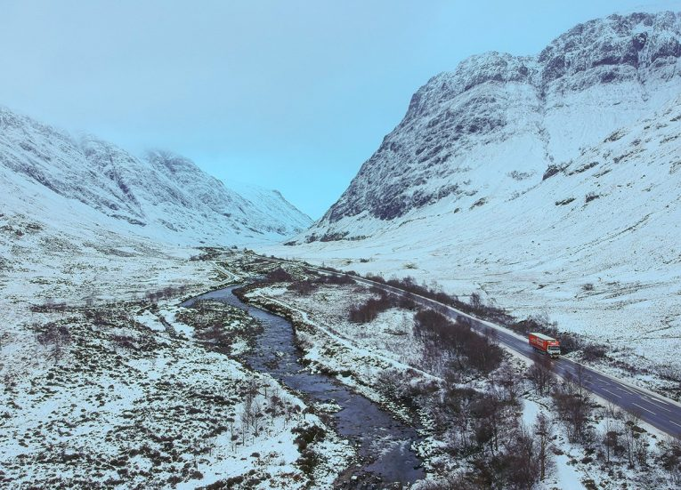 Glen Coe River, Scotland Road Trip in Scottish Highlands in Winter Snow