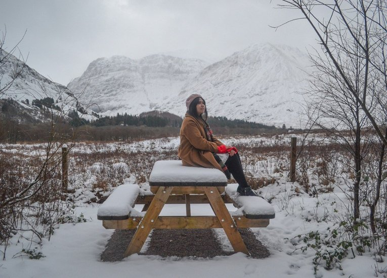 Picnic Table with Views, Scotland Road Trip in Scottish Highlands in Winter Snow