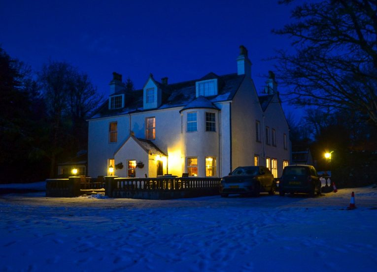 Night-time-in-Skye, Scotland Road Trip in Scottish Highlands in Winter Snow