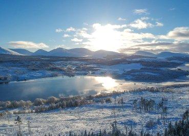 Drone Over Glen Shiel, Scotland Road Trip in Scottish Highlands in Winter Snow