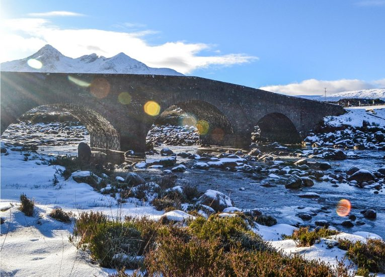 Sligachan-Bridge, Scotland Road Trip in Scottish Highlands in Winter Snow