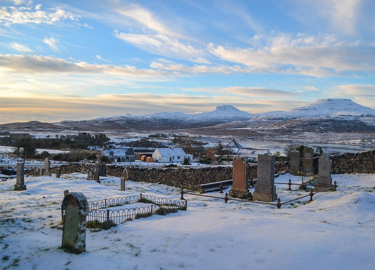 Sunrise-at-Isle-of Skye, Scotland Road Trip in Scottish Highlands in Winter Snow