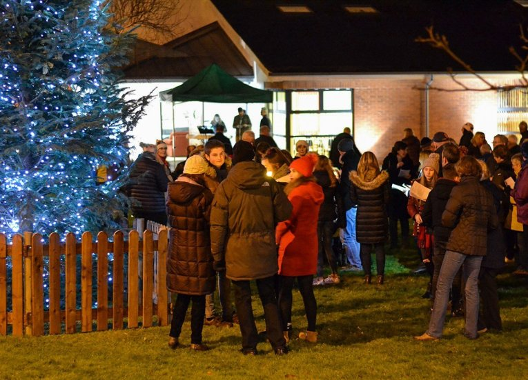 Choirs outside church. Traditions of Christmas in Northern Ireland, Bangor NI