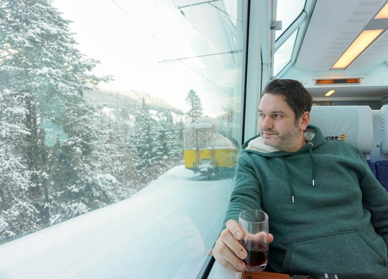 Window Seats on Glacier Express on the Interrail Pass in Winter in Switzerland