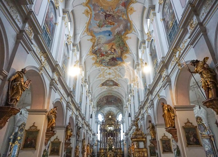 Beautiful Churches in Munich, Train Travel on Interrail in Winter in Europe