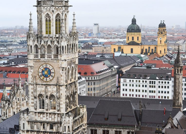 Best Views over Munich, Train Travel on Interrail in Winter in Europe