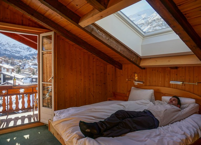 Guestroom at Capricorn Hotel Zermatt, Interrail in Winter: Train Travel in Europe Itinerary