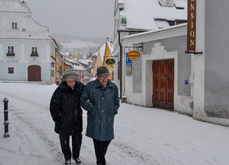 Snow on Local Streets of Cesky Krumlov in Winter Snow (Czech Republic)