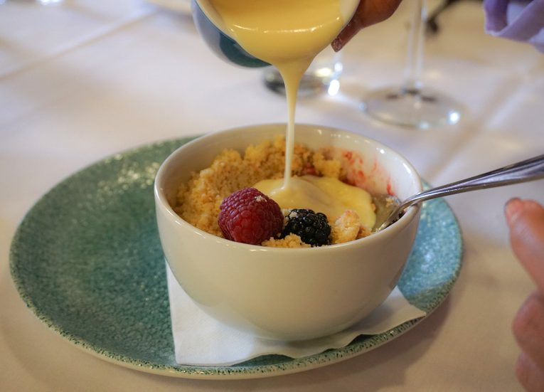 Creme Anglaise Dessert, Members Dining Room at Stormont in Belfast Northern Ireland