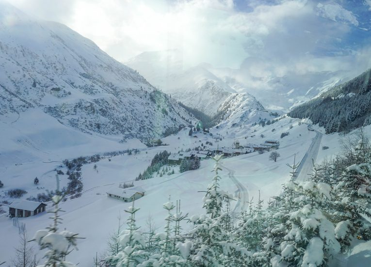 Mountain Views on the Glacier Express on the Interrail Pass in Winter in Switzerland