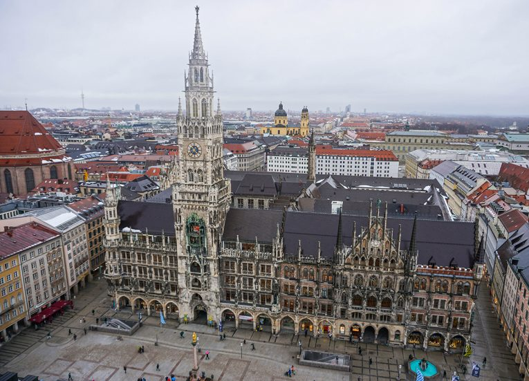 New City Hall Marienplatz, Train Travel on Interrail in Winter in Europe