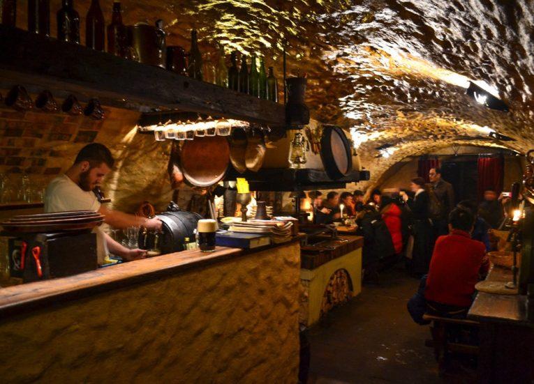 Tavern Satlava Restaurant, Cesky Krumlov in Winter Snow (Czech Republic)