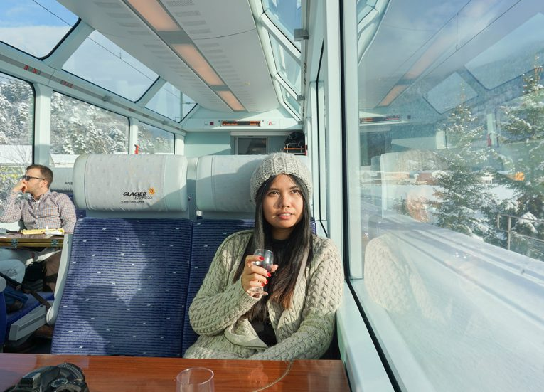 2nd Class Panoramic View Cars on Glacier Express on the Interrail Pass in Winter in Switzerland