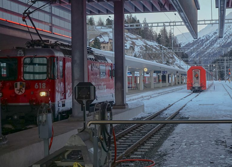 St Moritz Station Switzerland, Interrail in Winter Train Travel in Europe