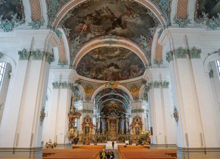 St. Gallen Cathedral, The Columban Way. Saint Gallen in Switzerland. Columbanus from Bangor to Bobbio