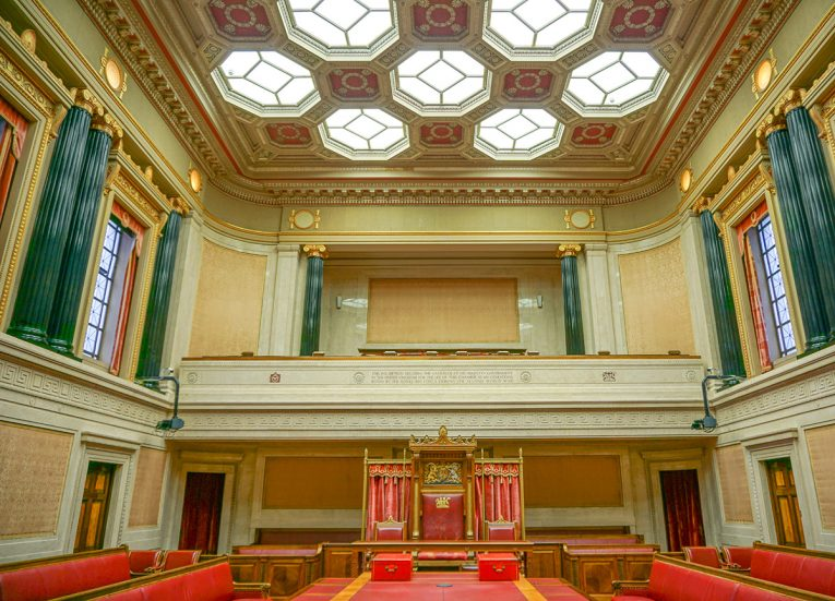 Inside Senate Chamber. Tour of Stormont Parliament Buildings in Belfast NI