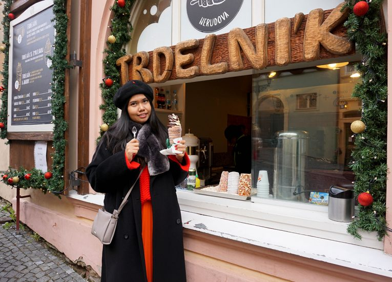 Trdelnik Ice Cream Donuts Prague, Train Travel on Interrail in Winter