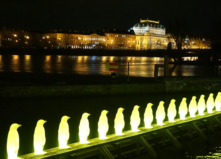 Yellow Penguins at Kampa Park, Prague Czech, Train Travel on Interrail in Winter