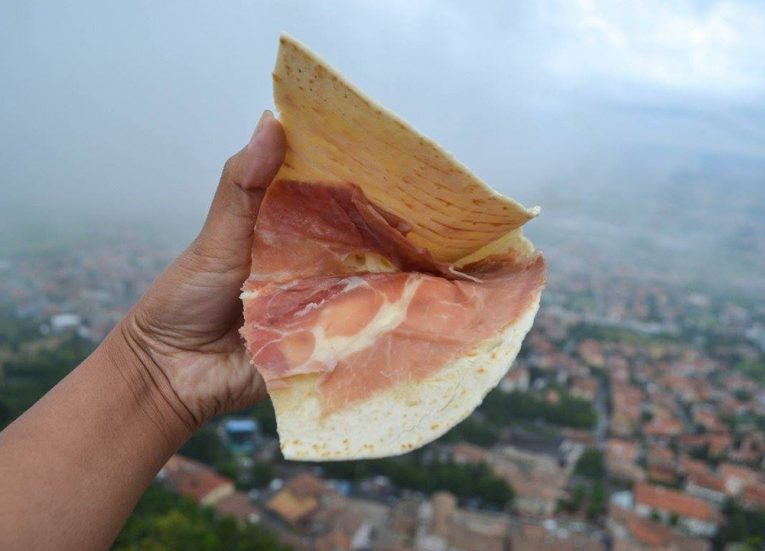 A Piada Piadina in San Marino. Culinary Travels. Traditional National Foods in Europe