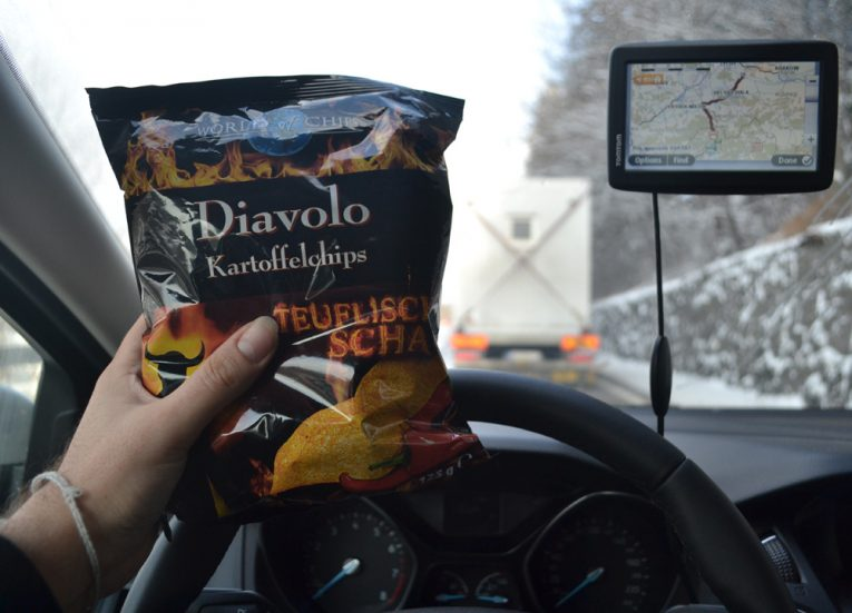 In-Car-Eating-Snacks-Winter-Road-Trip-in-Europe-Piland