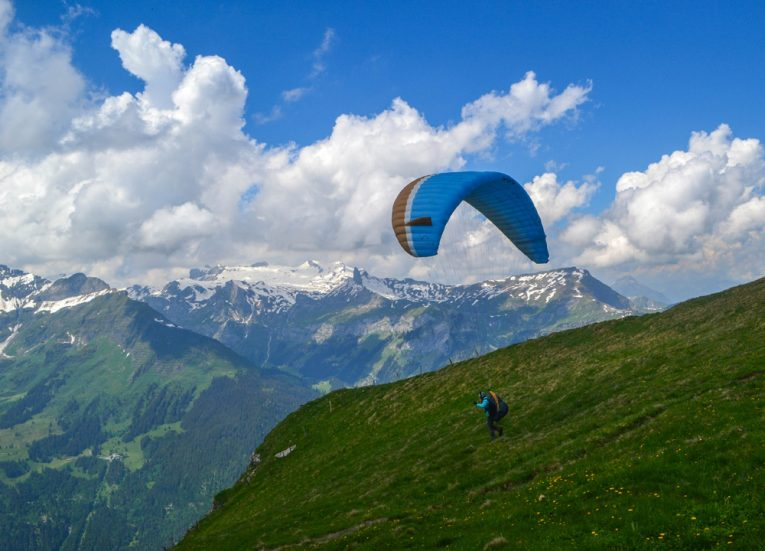 paragliding and Parachutes on the Jungfrau Mountains Switzerland
