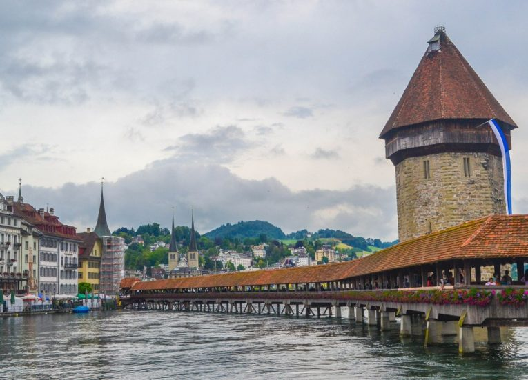 Bridge Crossing Lake in the Old town of Lucerne in Switzerland